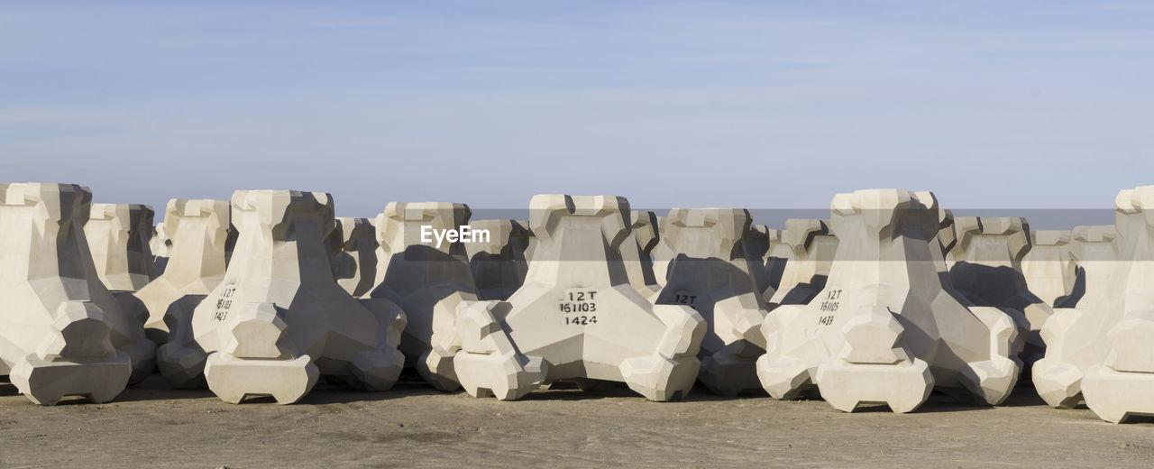 Panoramic shot of tetrapod against sky
