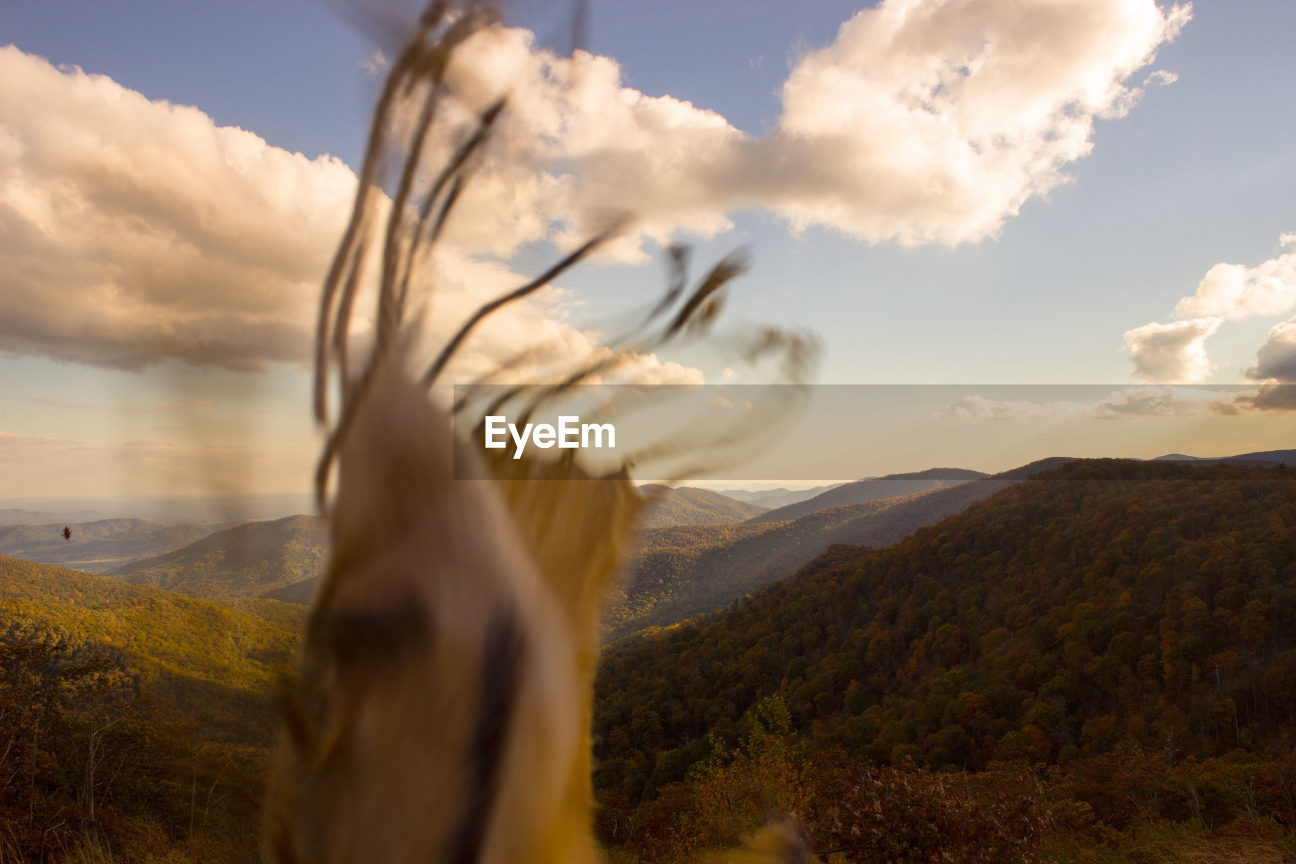 Blur image of fabric by mountains against sky