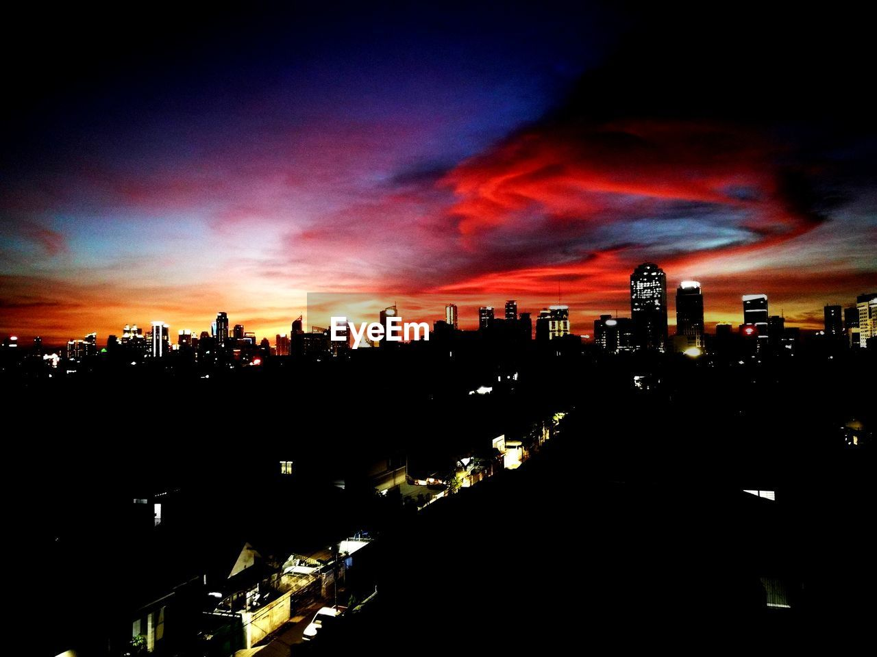 architecture, building exterior, built structure, sky, illuminated, cloud - sky, no people, silhouette, skyscraper, cityscape, city, sunset, modern, outdoors, night, nature, urban skyline