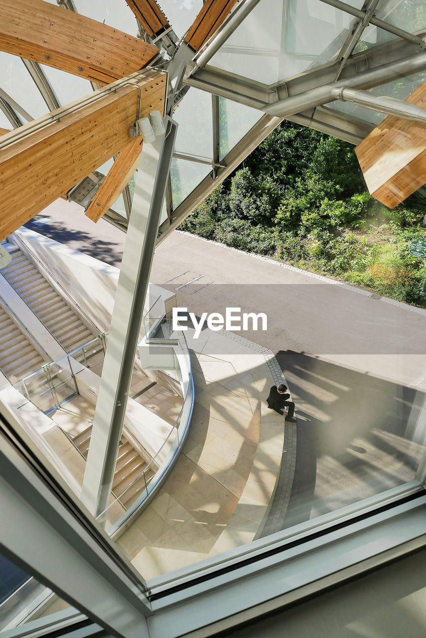 railing, high angle view, no people, day, indoors, architecture, built structure, close-up