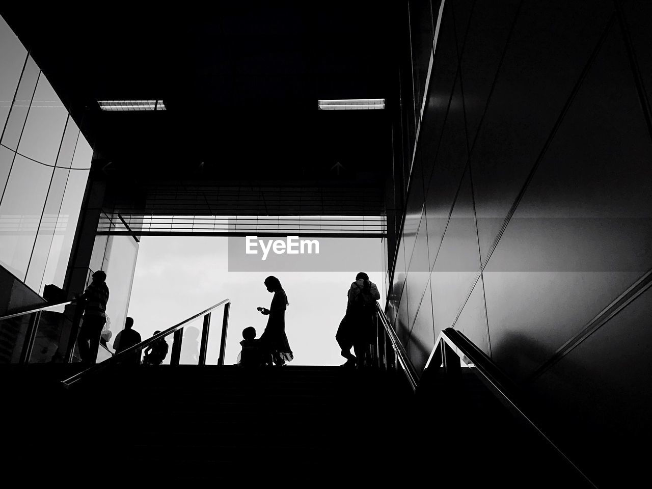 Low Angle View Of Silhouette People On Staircase