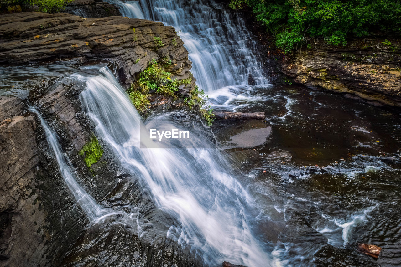 waterfall, motion, scenics, long exposure, water, blurred motion, beauty in nature, tranquil scene, no people, nature, tranquility, forest, outdoors, rapid, day