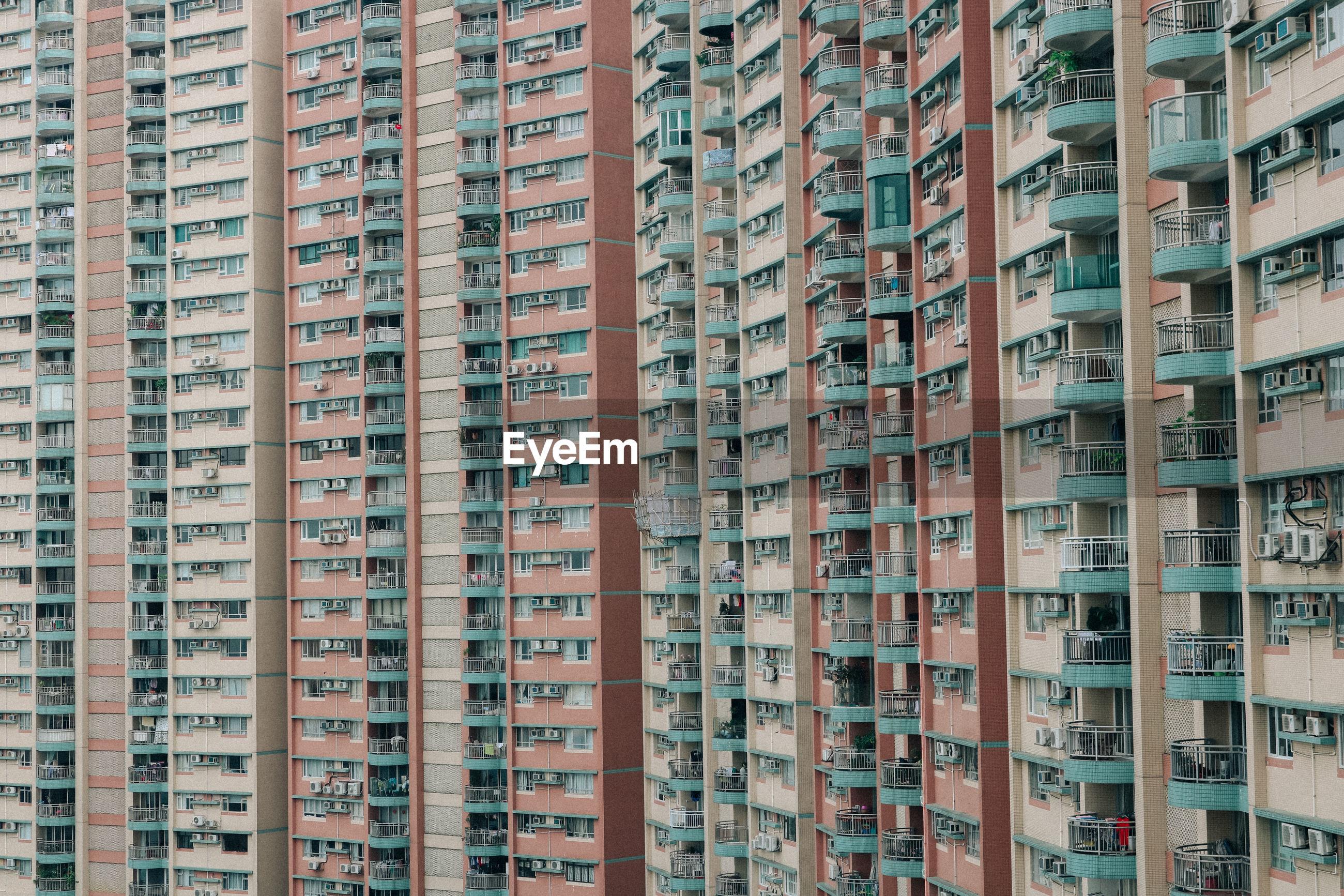 Low angle view of buildings in hongkong