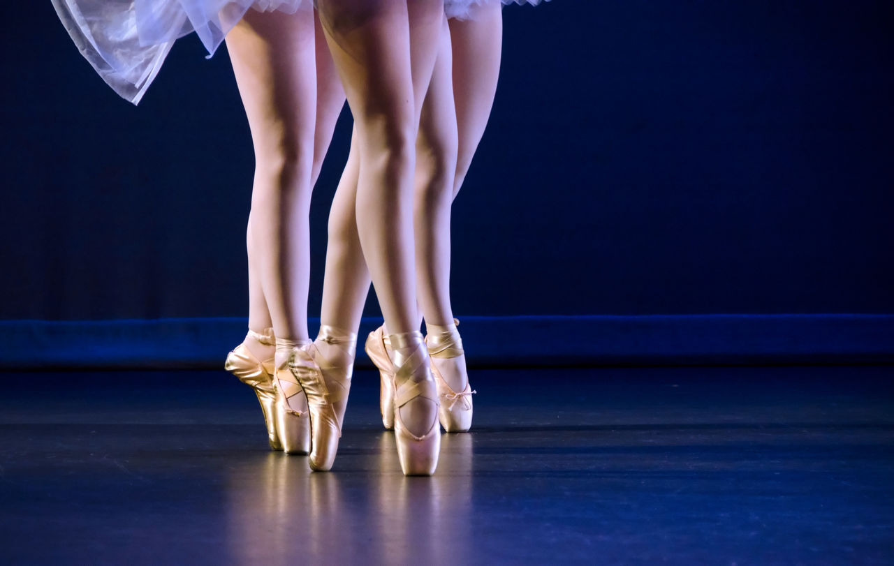 Low Section Of Ballet Dancers On Tiptoes
