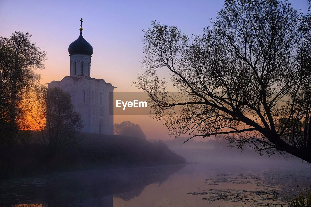 Church of the intercession on the nerl at sunrise.