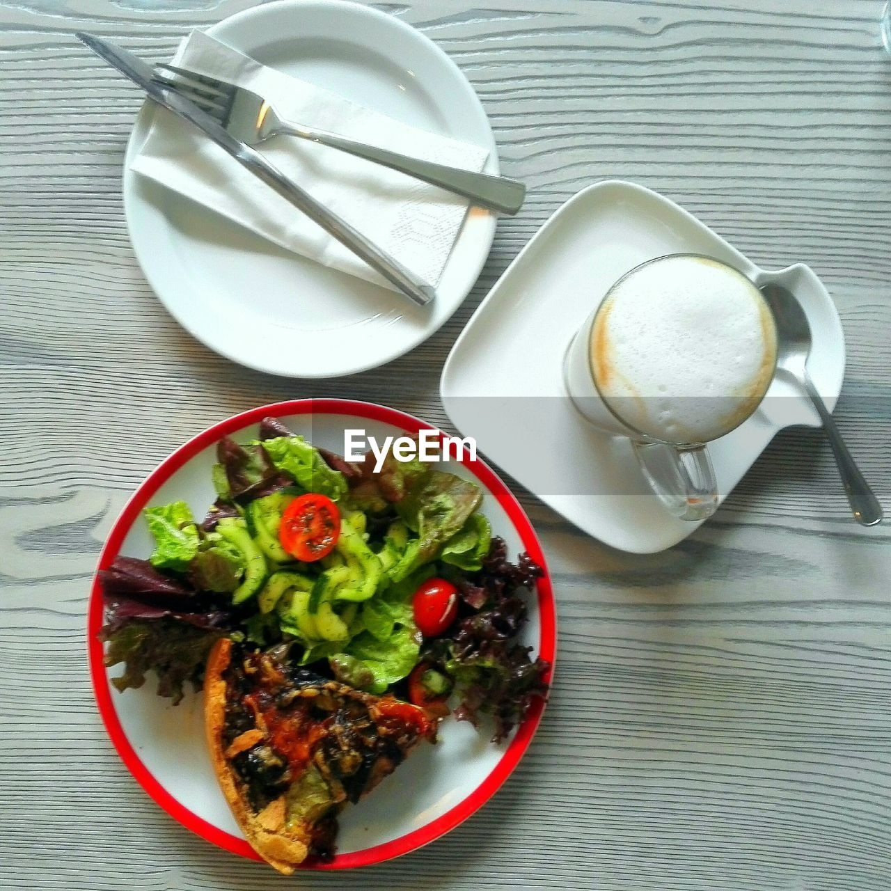 Directly Above Shot Of Breakfast With Coffee Cup On Table