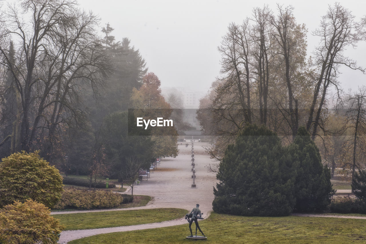SCENIC VIEW OF PARK AGAINST SKY DURING FOGGY WEATHER