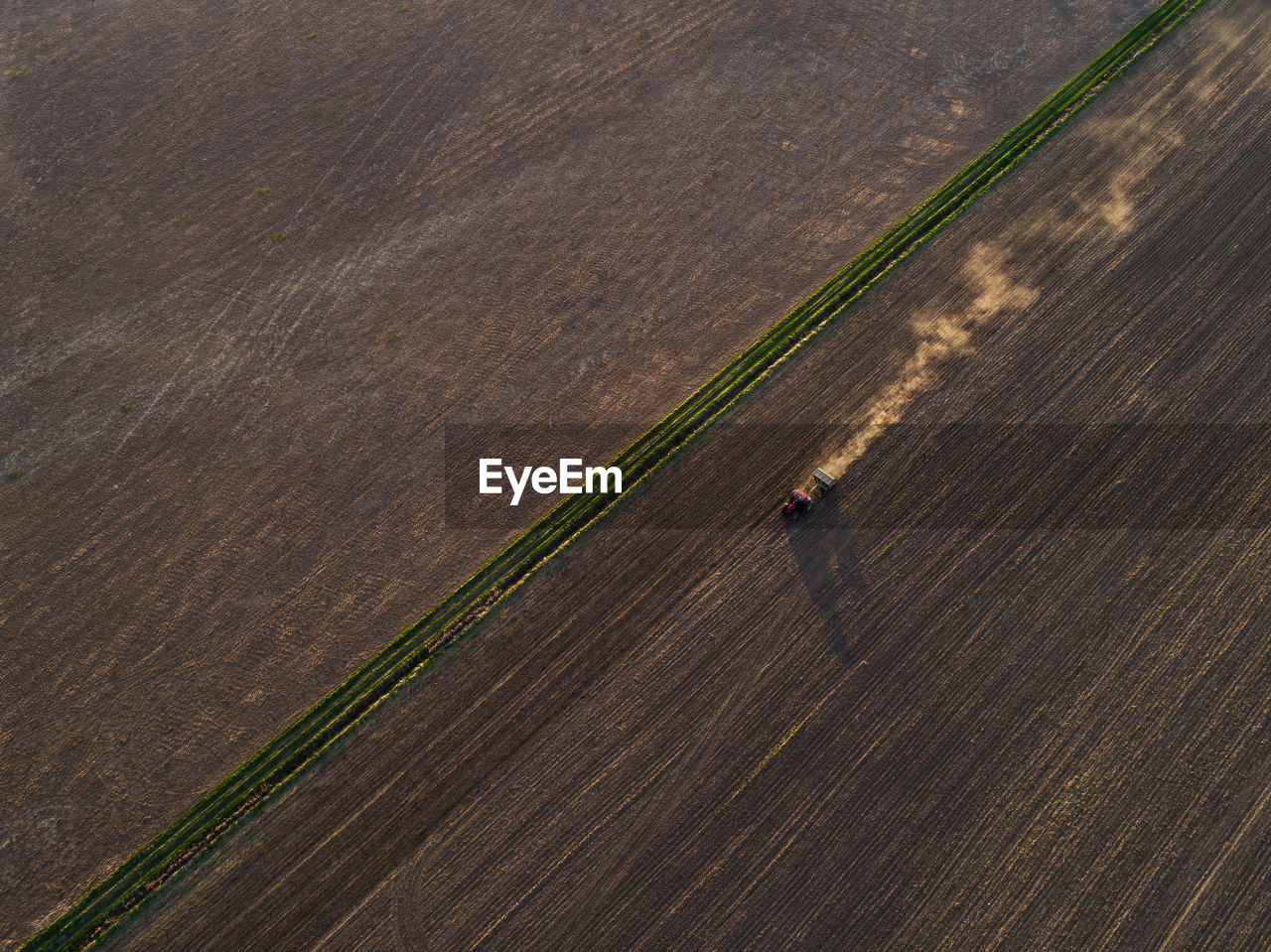 Aerial View Of Agricultural Machinery On Farm