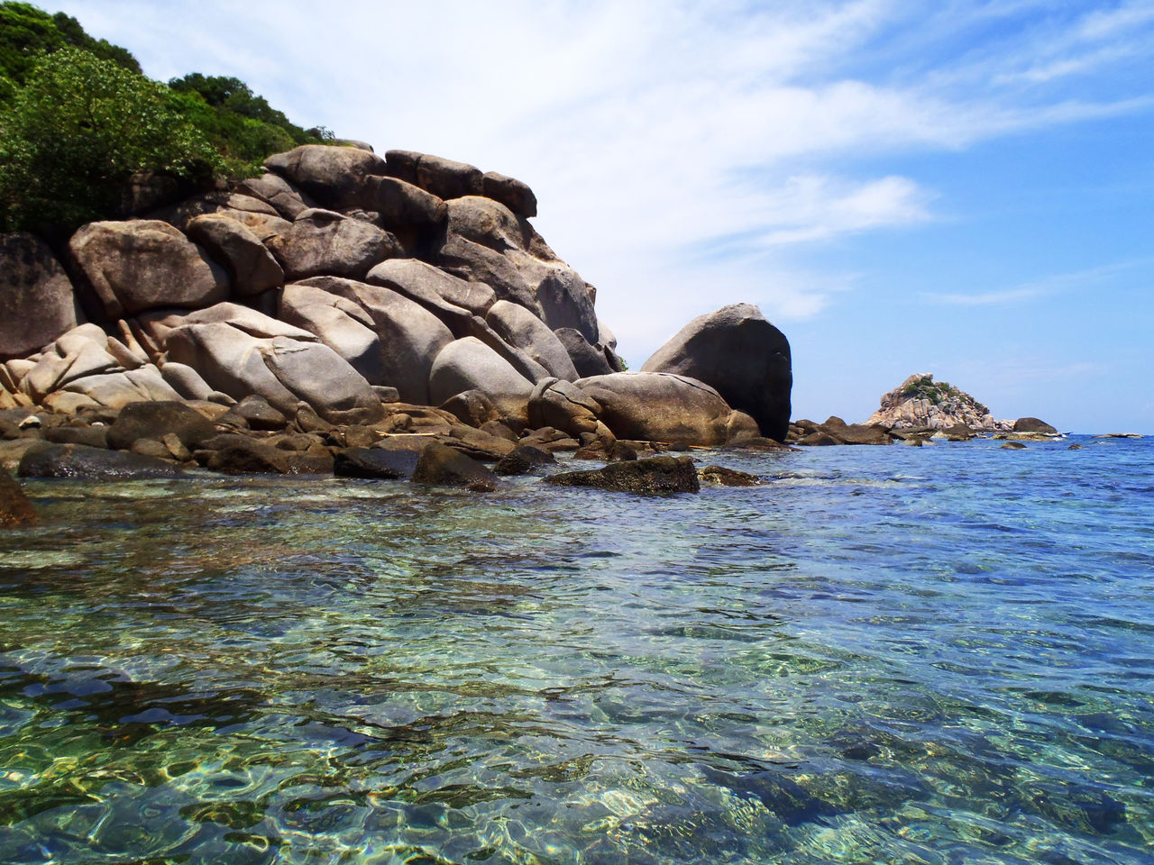 water, rock, sea, solid, rock - object, beauty in nature, sky, waterfront, scenics - nature, nature, tranquility, tranquil scene, day, no people, land, beach, non-urban scene, rock formation, idyllic, outdoors, marine