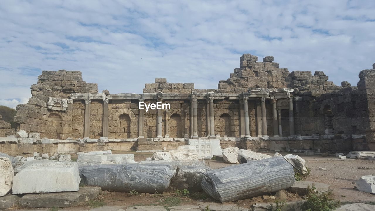 ancient, old ruin, history, ancient civilization, the past, cloud - sky, archaeology, sky, travel destinations, built structure, architecture, tourism, day, outdoors, travel, place of worship, bad condition, no people, building exterior, nature