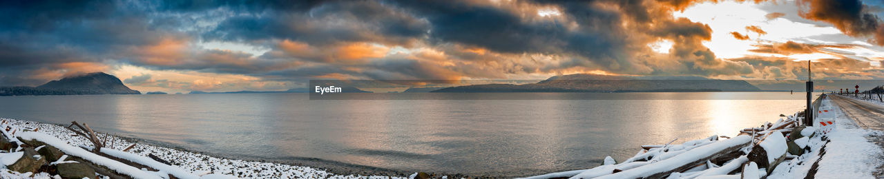 sky, water, cloud - sky, beauty in nature, scenics - nature, mountain, panoramic, sunset, nature, sea, tranquility, tranquil scene, transportation, no people, idyllic, nautical vessel, mountain range, outdoors, snowcapped mountain