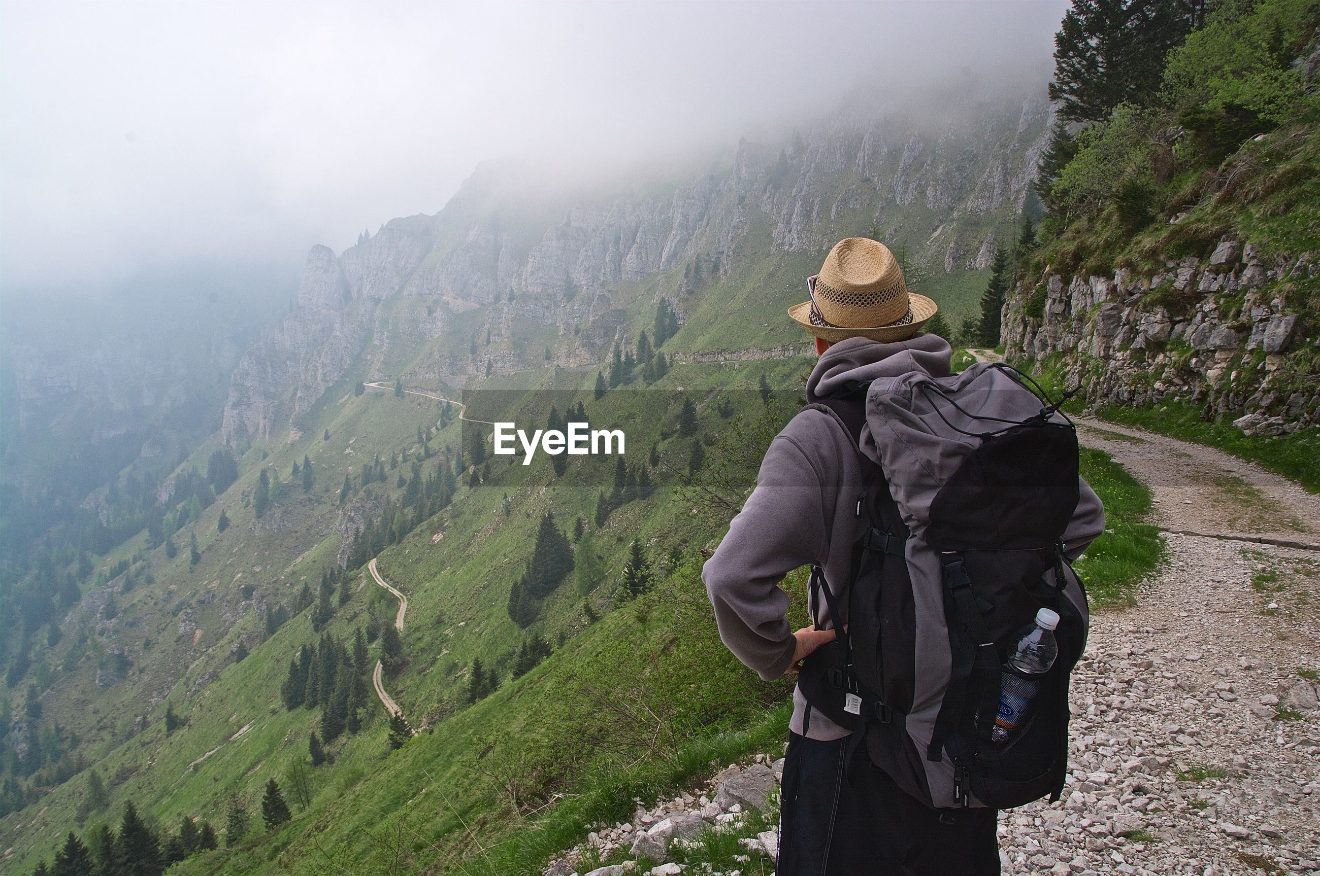 Rear view of man looking at mountains during foggy weather