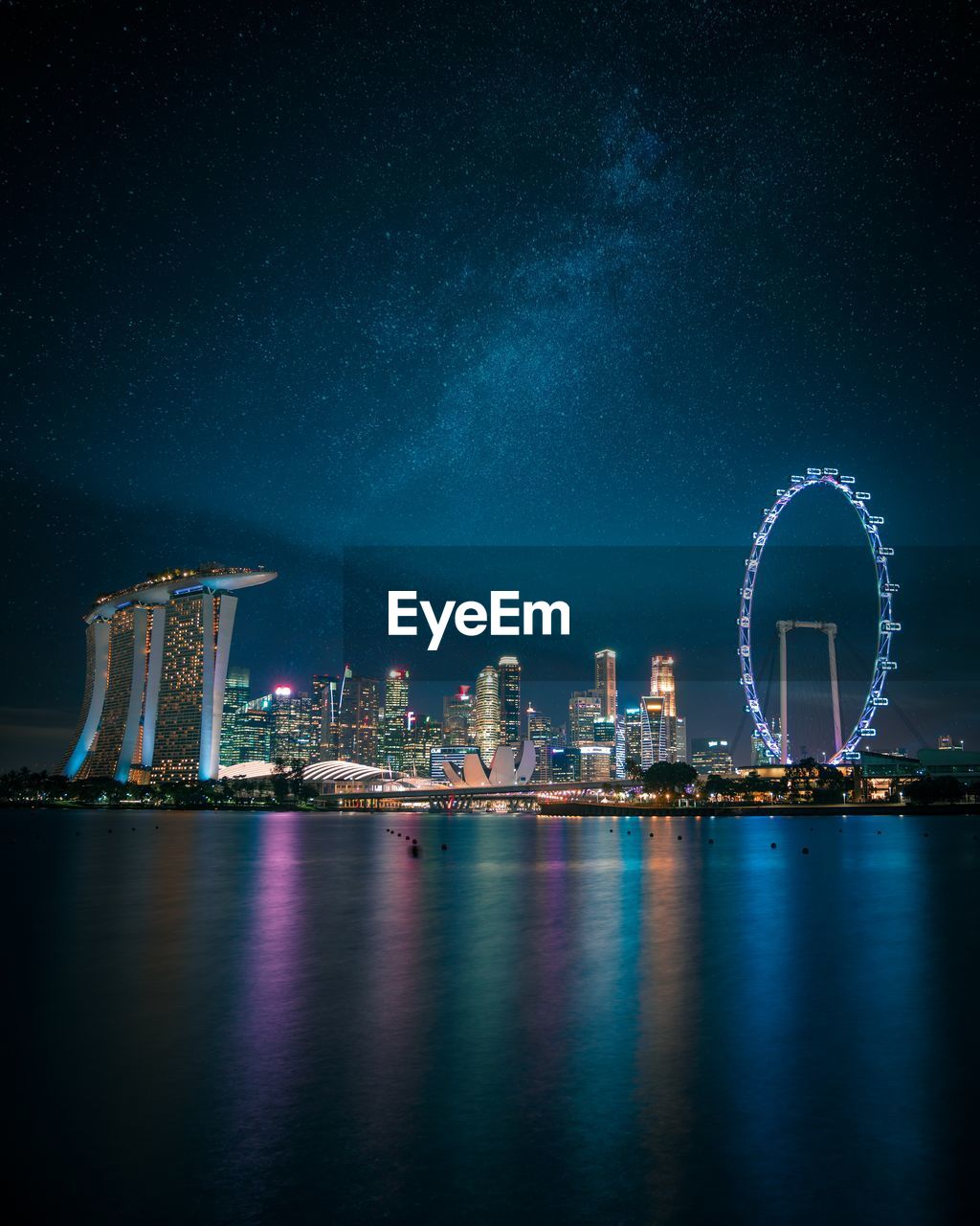 night, architecture, building exterior, built structure, water, illuminated, sky, city, waterfront, amusement park ride, amusement park, reflection, ferris wheel, building, nature, no people, river, office building exterior, travel destinations, skyscraper, cityscape, tall - high, outdoors, modern, bay