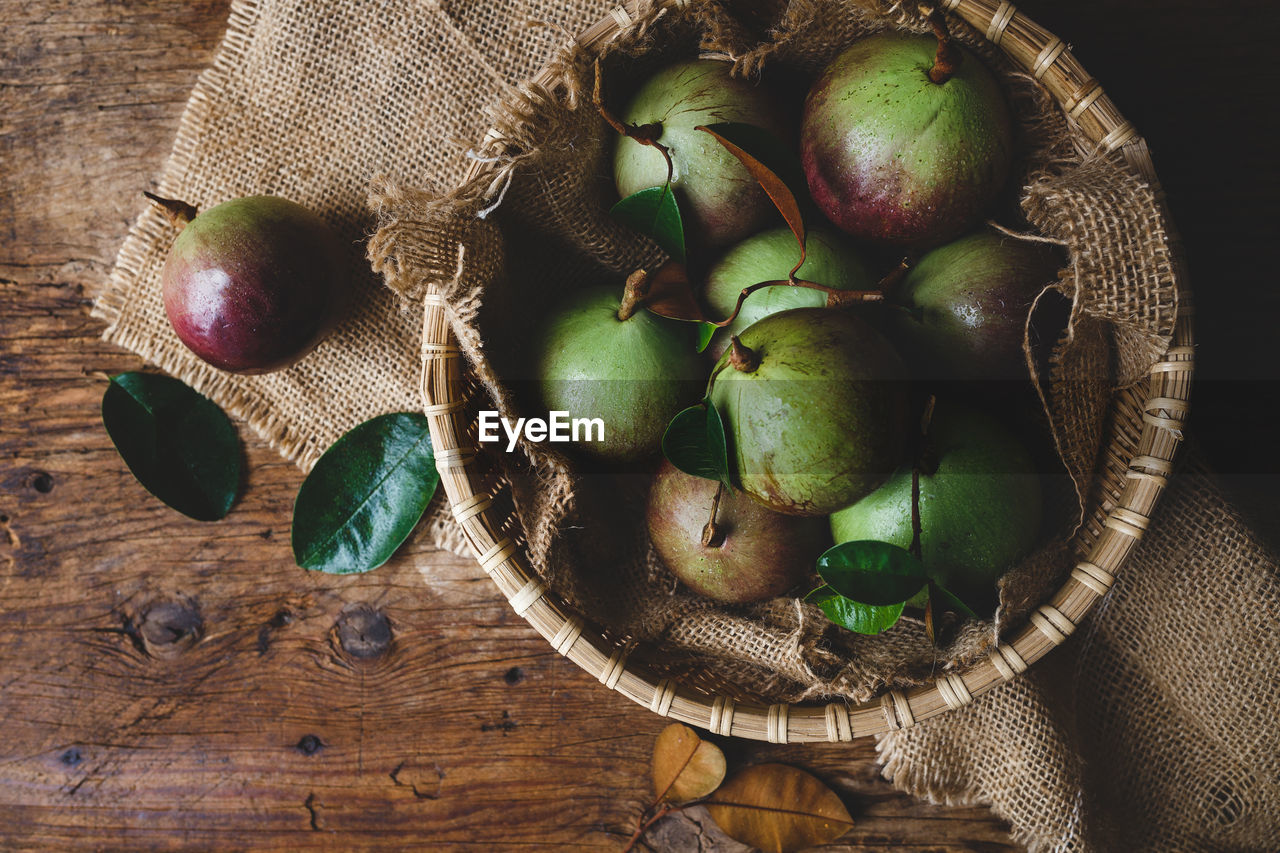 Fruits In Basket And Burlap On Table