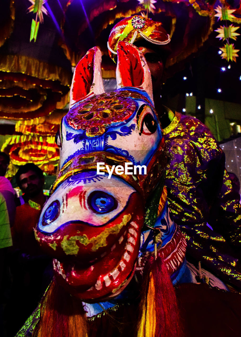 mask - disguise, multi colored, venetian mask, cultures, tradition, indoors, night, close-up, no people