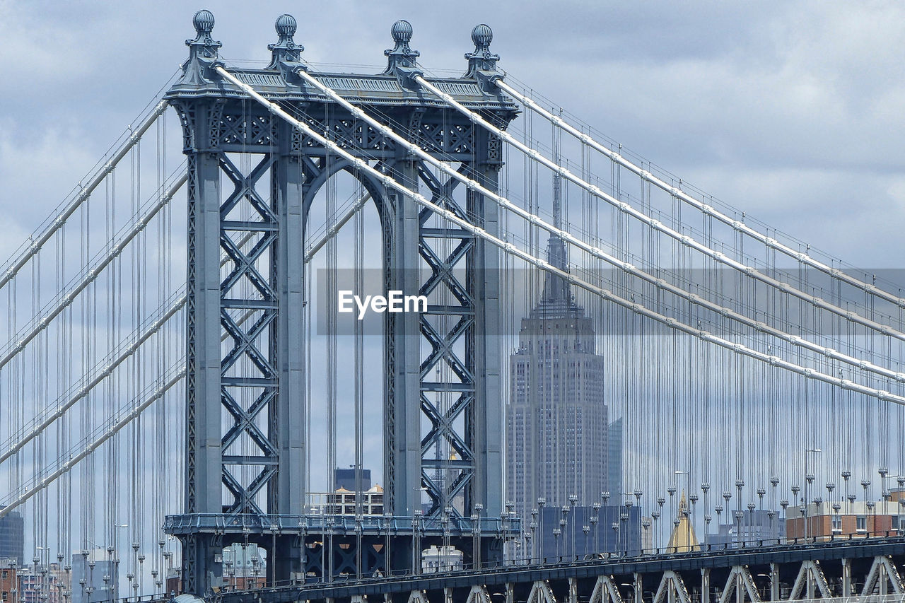 Low Angle View Of Manhattan Bridge And Empire State Building
