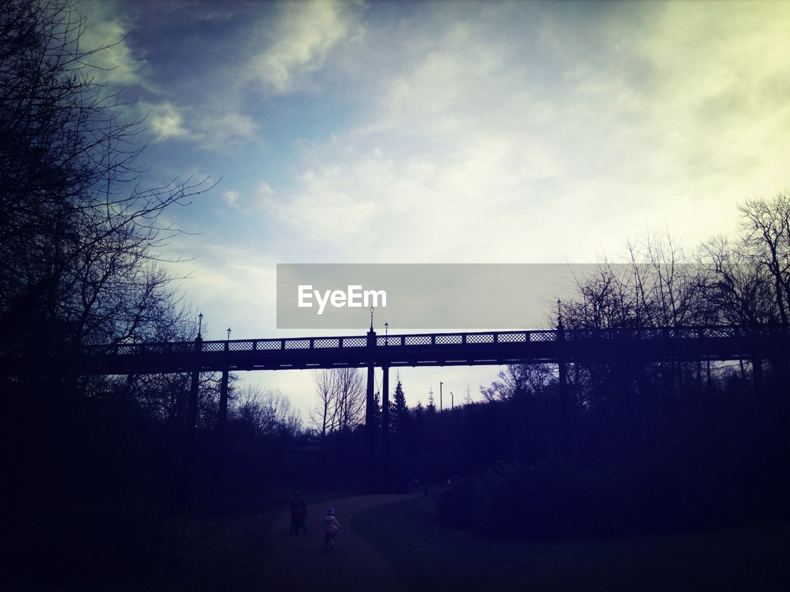 sky, silhouette, tree, connection, cloud - sky, bridge - man made structure, cloudy, built structure, transportation, cloud, sunset, tranquility, bare tree, nature, bridge, architecture, river, tranquil scene, dusk, outdoors