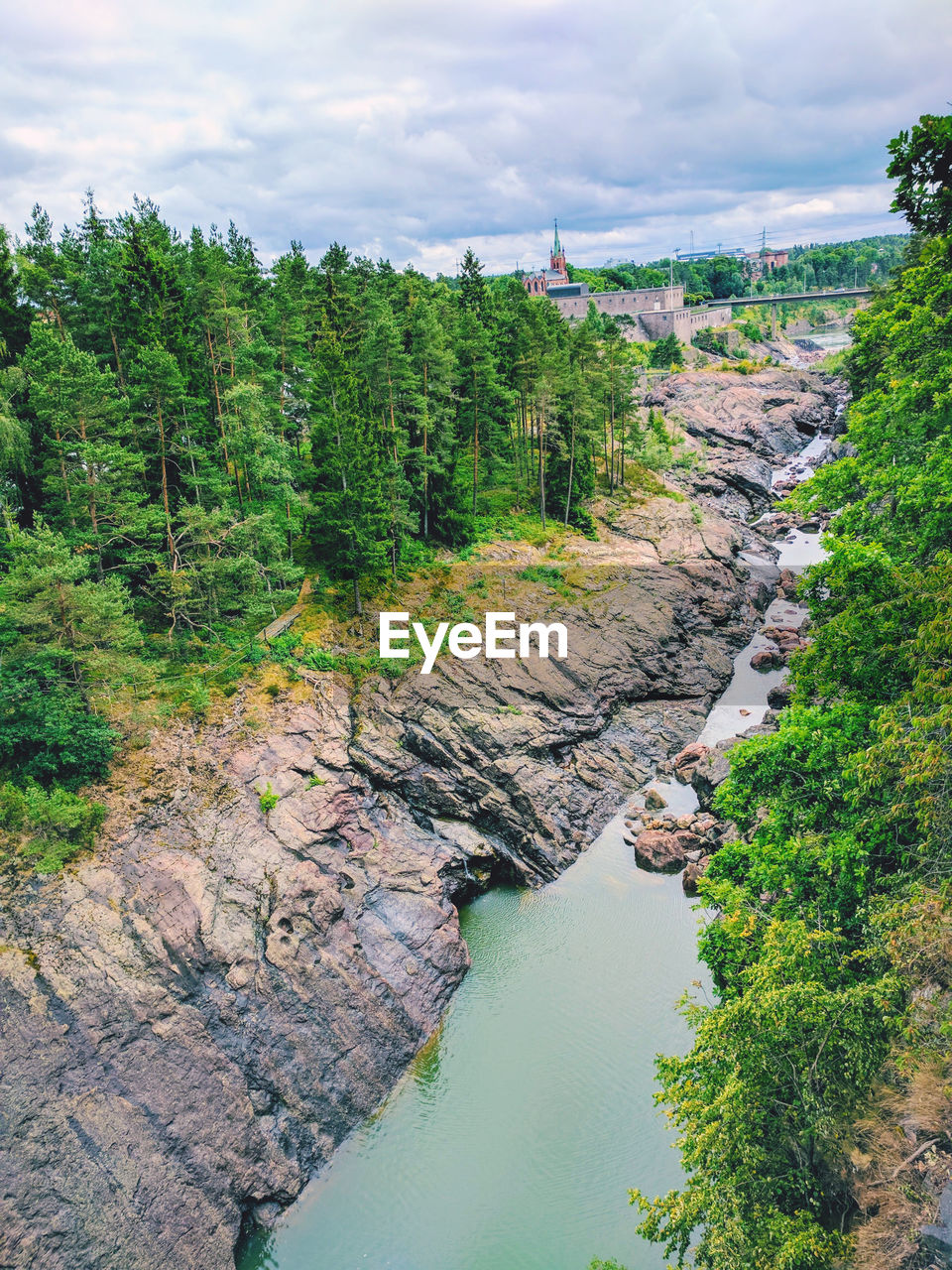 water, tree, plant, beauty in nature, nature, cloud - sky, scenics - nature, high angle view, river, sky, green color, tranquil scene, day, tranquility, no people, growth, land, environment, non-urban scene, outdoors, flowing water