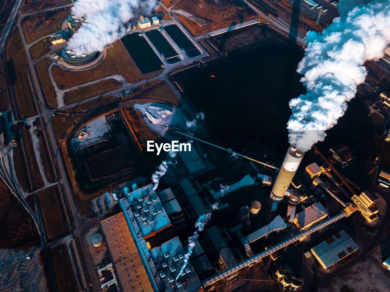 High Angle View Of Factory In City