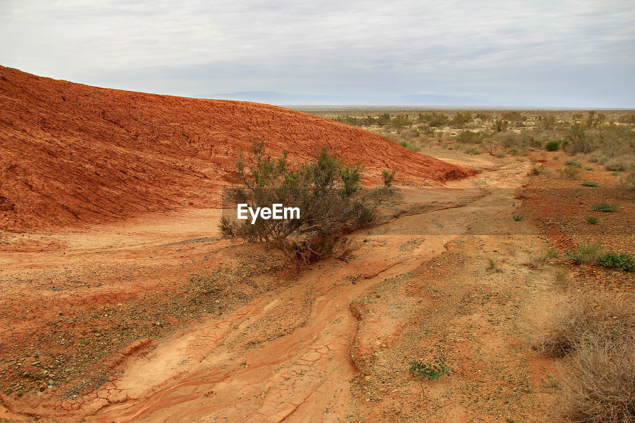 VIEW OF DESERT LAND AGAINST SKY