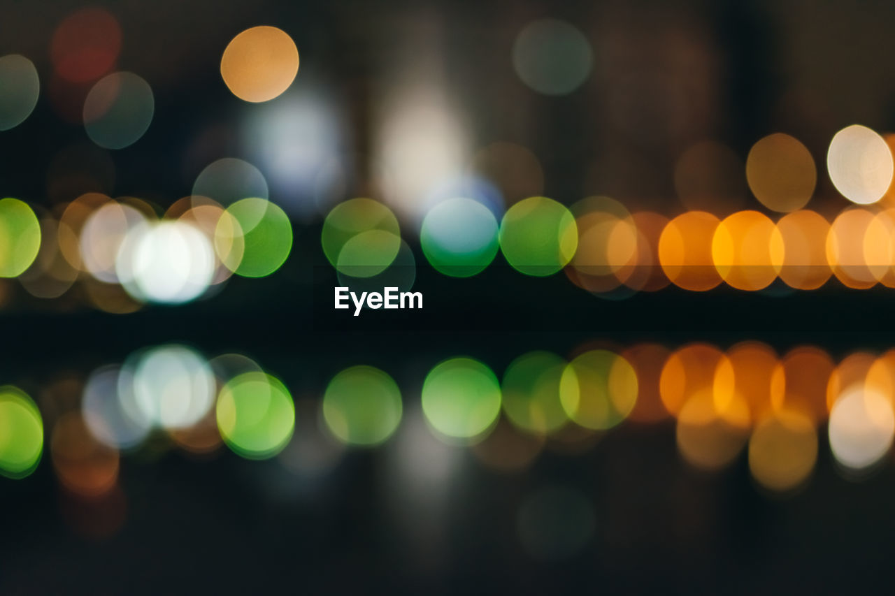 Unfocused abstract bokeh. defocused and blurred many round light.