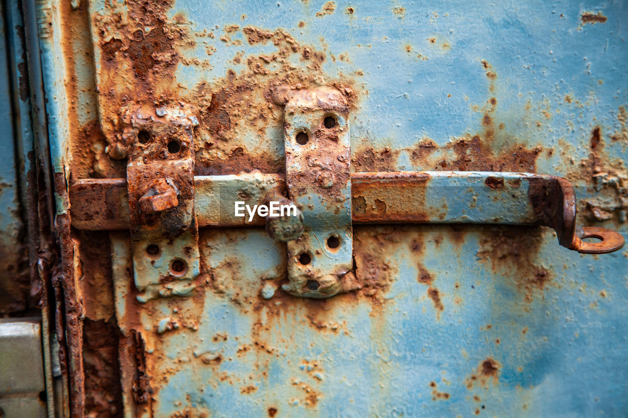 metal, rusty, old, weathered, no people, decline, damaged, deterioration, abandoned, run-down, close-up, obsolete, entrance, door, day, blue, latch, lock, full frame, peeling off