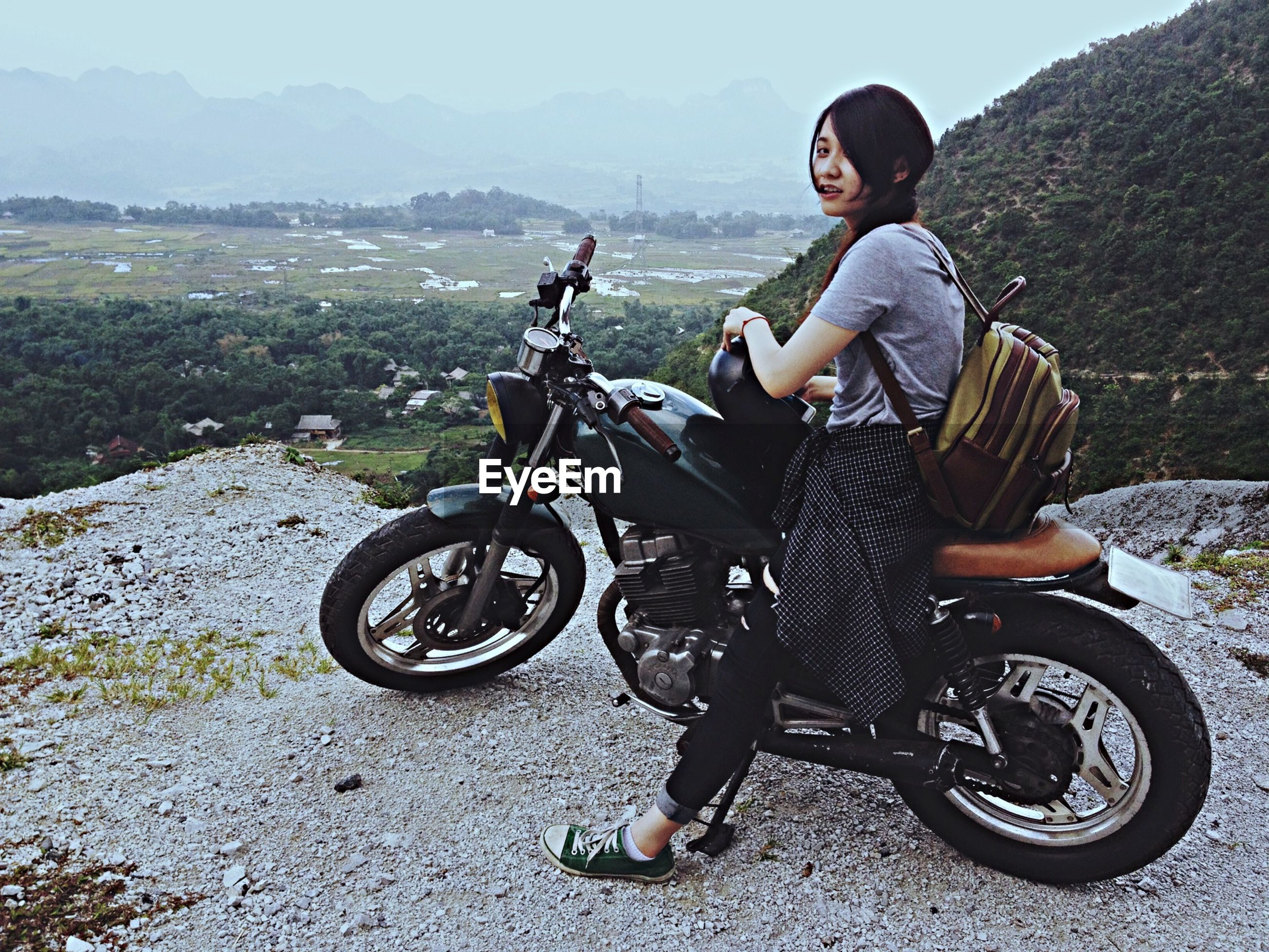 bicycle, mode of transport, transportation, land vehicle, lifestyles, leisure activity, full length, riding, casual clothing, mountain, side view, cycling, travel, men, day, outdoors, sunlight, motorcycle