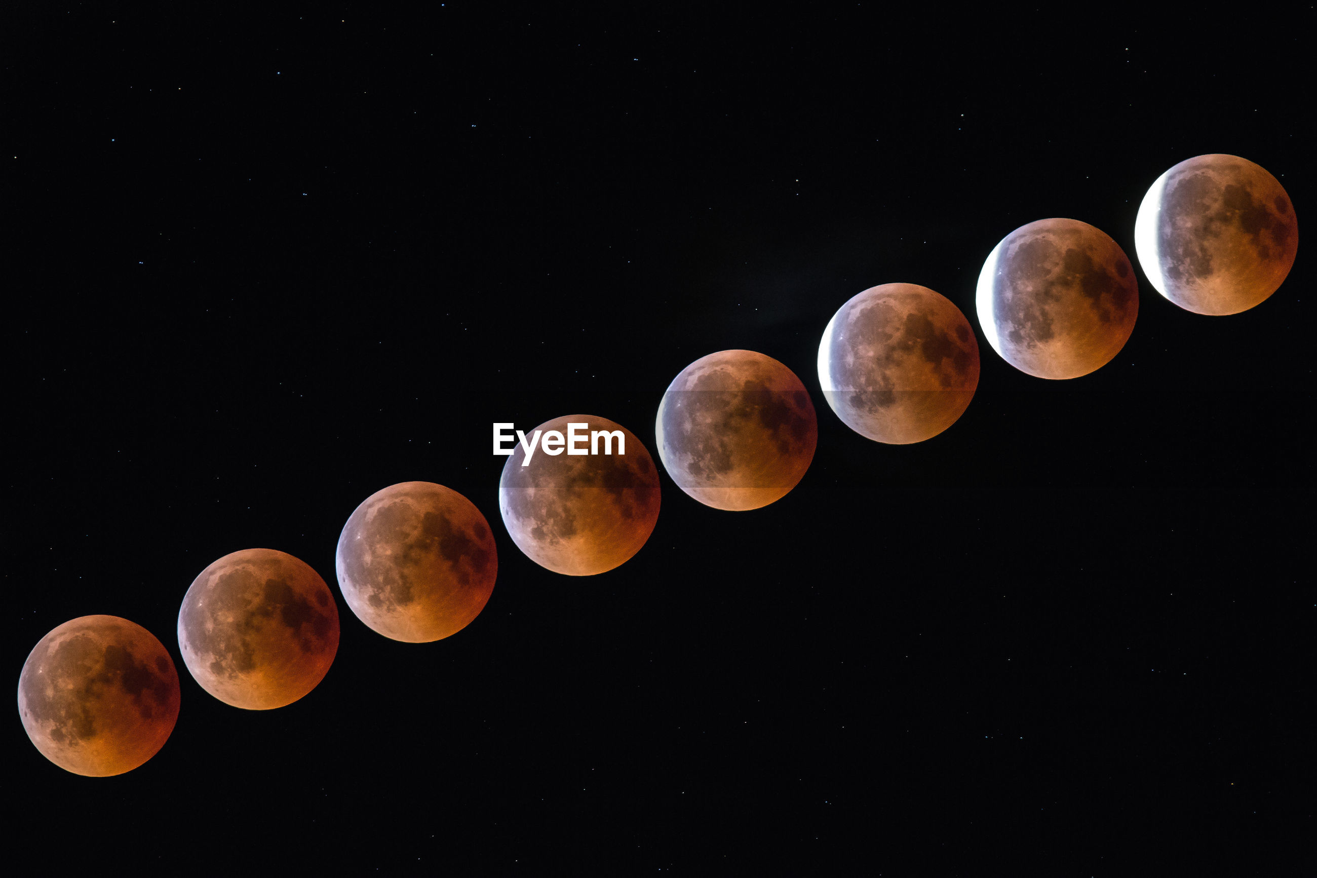 Digital composite image of lunar eclipse against clear sky at night