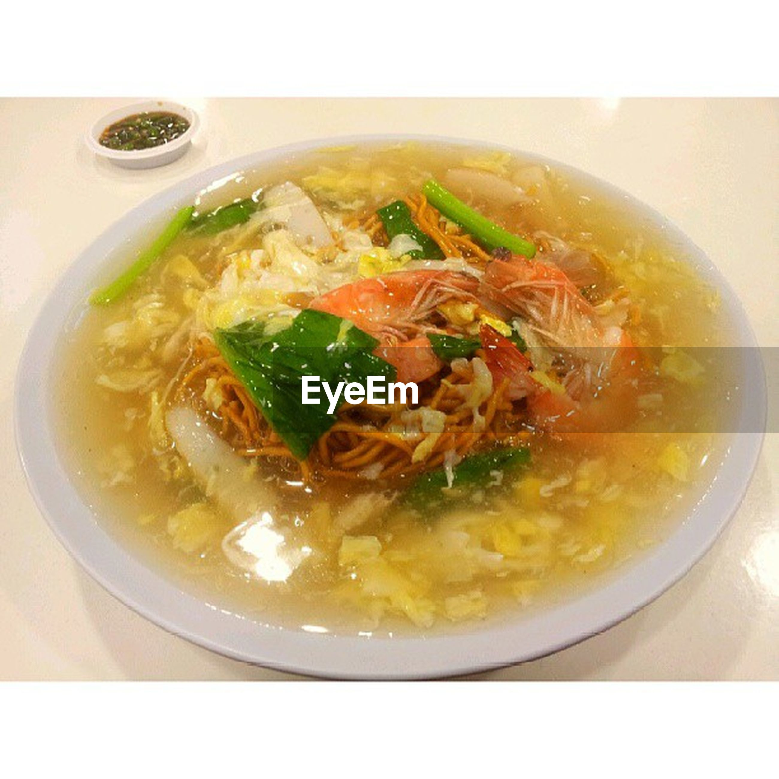 food and drink, food, indoors, freshness, ready-to-eat, bowl, meal, soup, healthy eating, close-up, serving size, noodles, still life, plate, high angle view, cooked, meat, table, healthy lifestyle, spoon