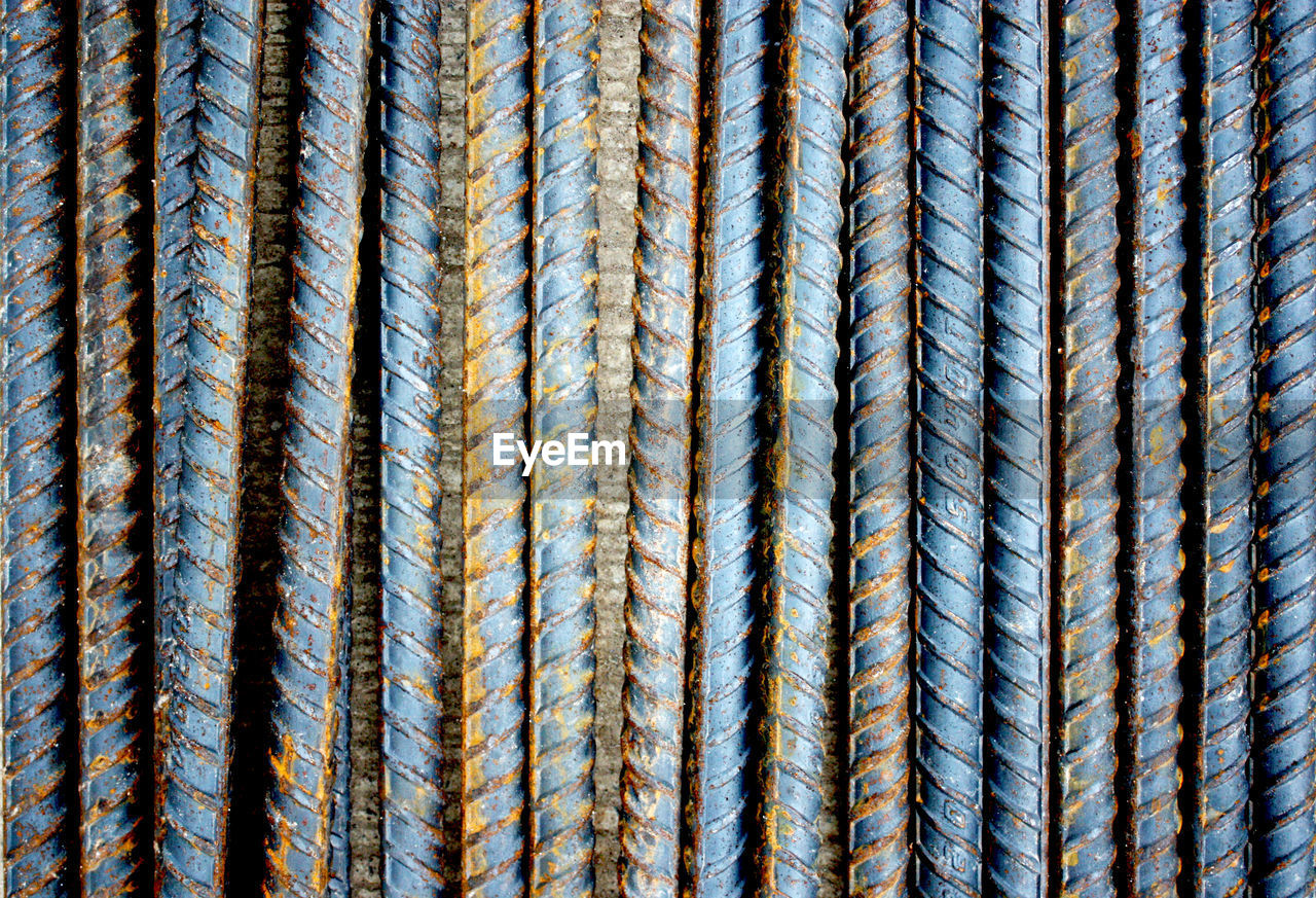 Full Frame Shot Of Steel Rods At Construction Site