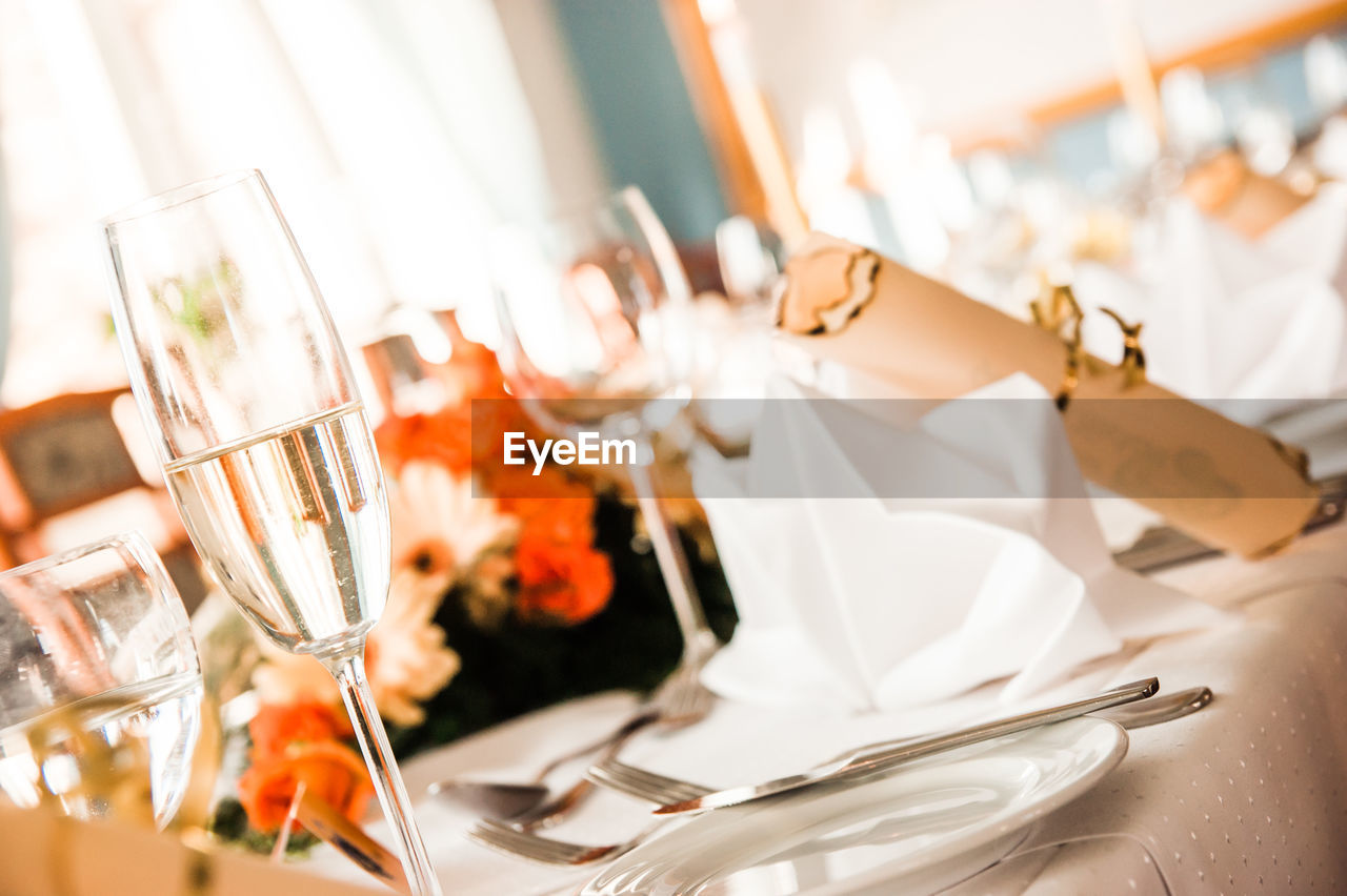 Close-up of champagne on table