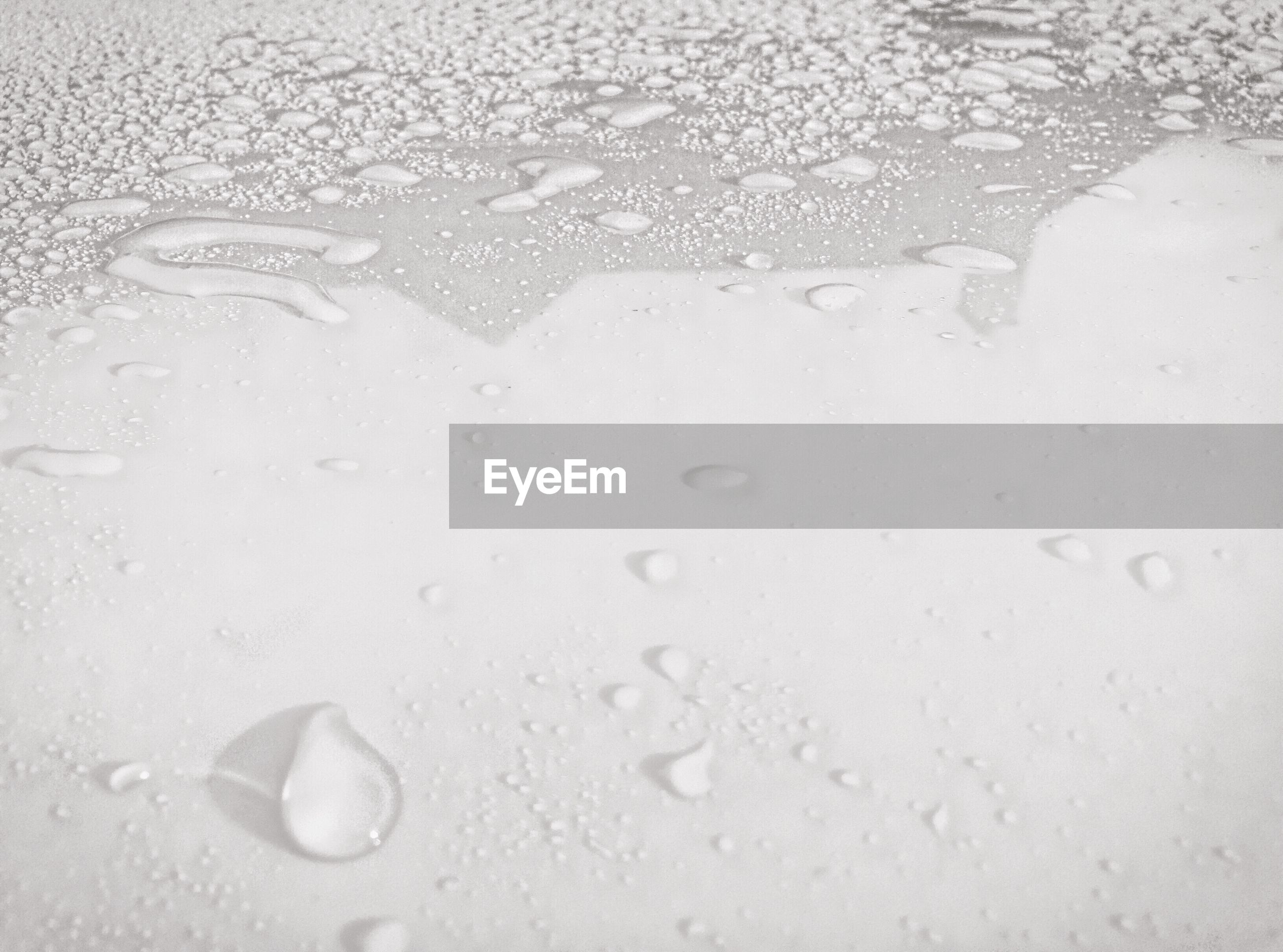 Close-up of wet white table