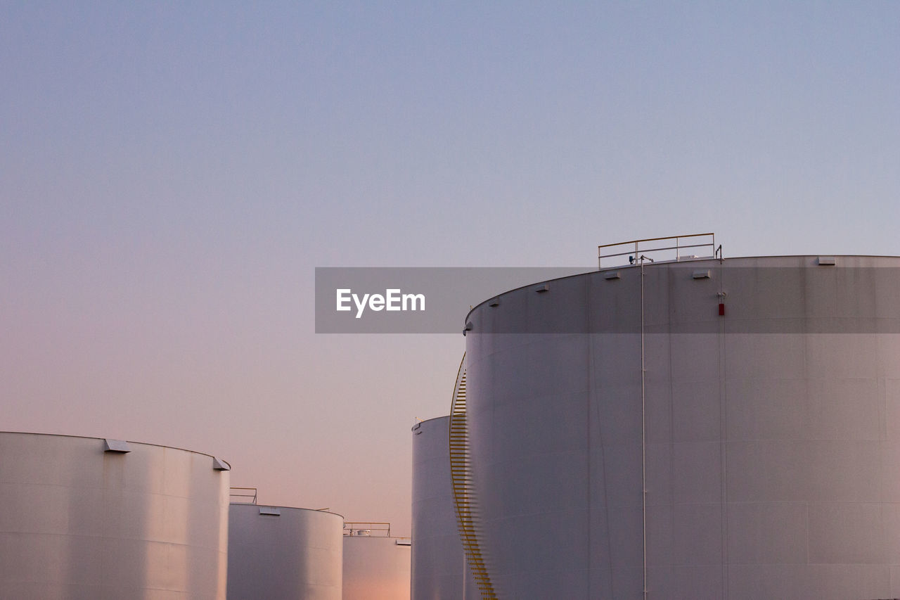 View of water storage tank against clear sky