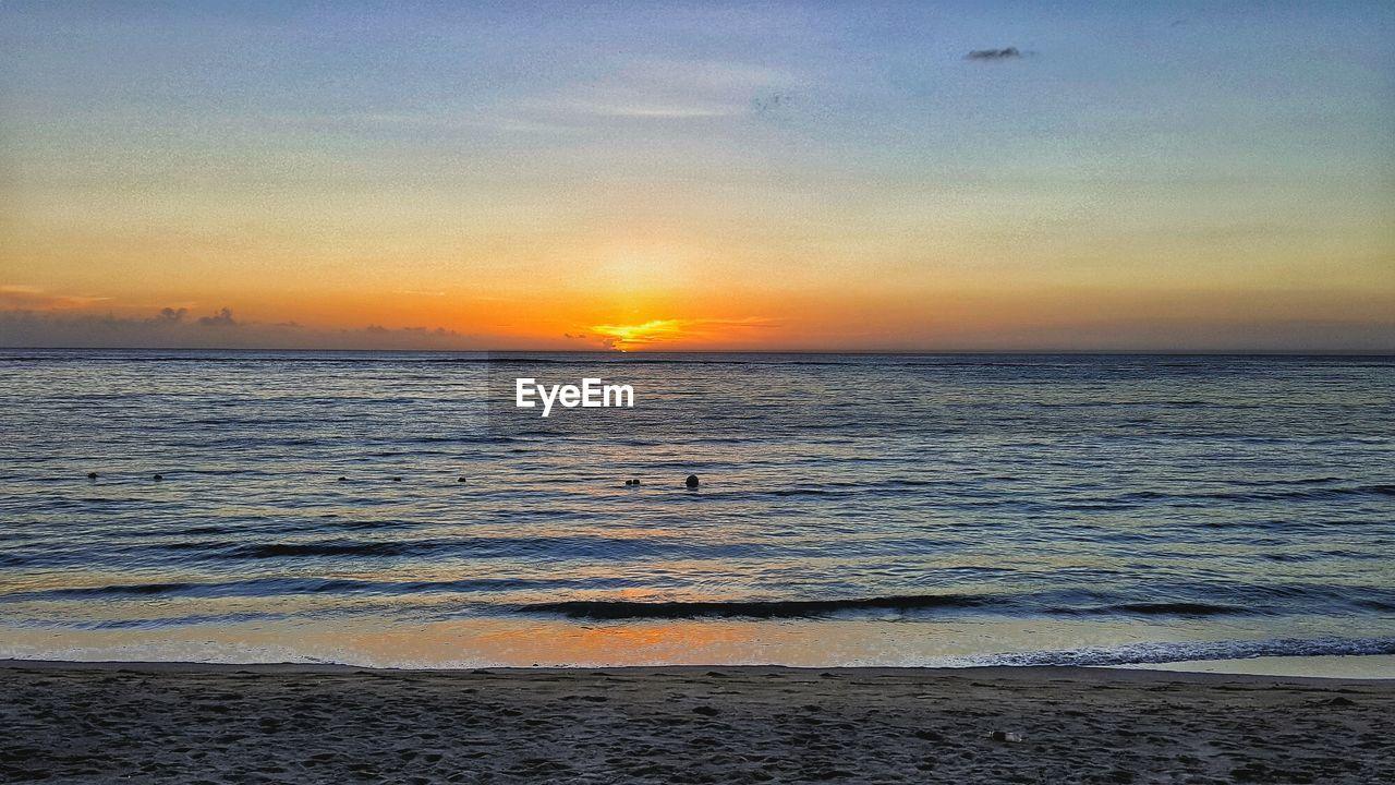 sunset, sky, water, sea, beauty in nature, scenics - nature, horizon, tranquility, beach, land, orange color, horizon over water, tranquil scene, cloud - sky, idyllic, wave, no people, nature, sun, outdoors, romantic sky