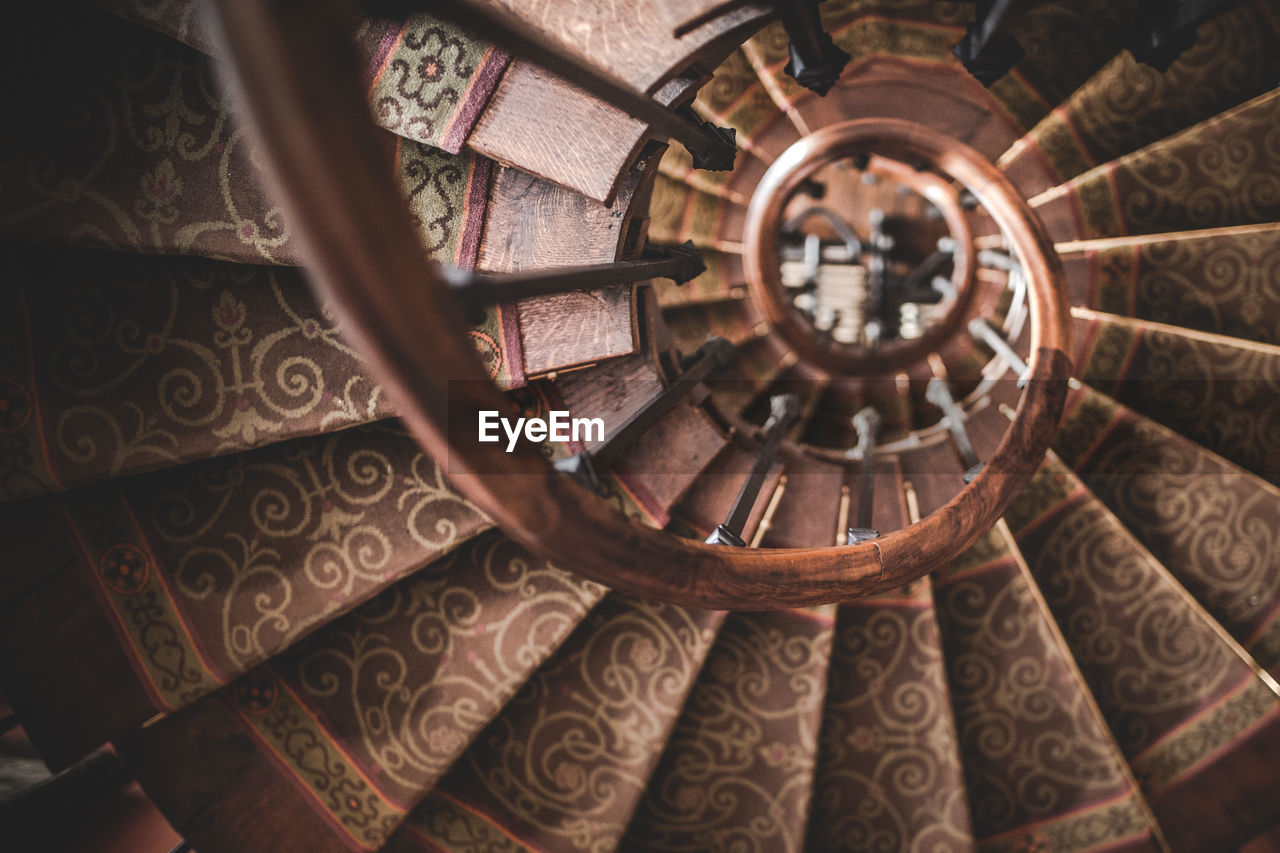 High Angle View Of Spiral Staircase In Old Building