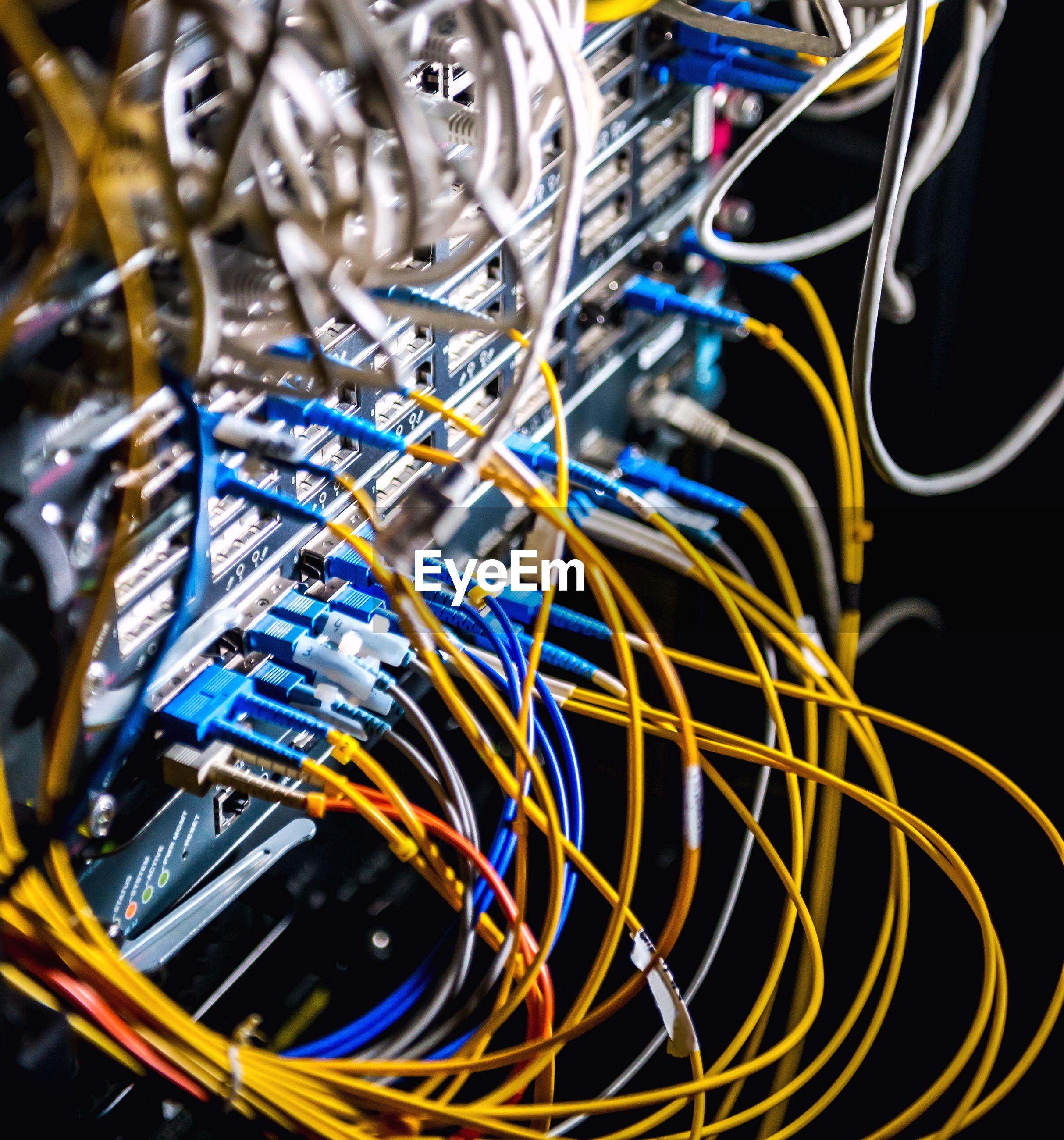 Close-up of fiber racks