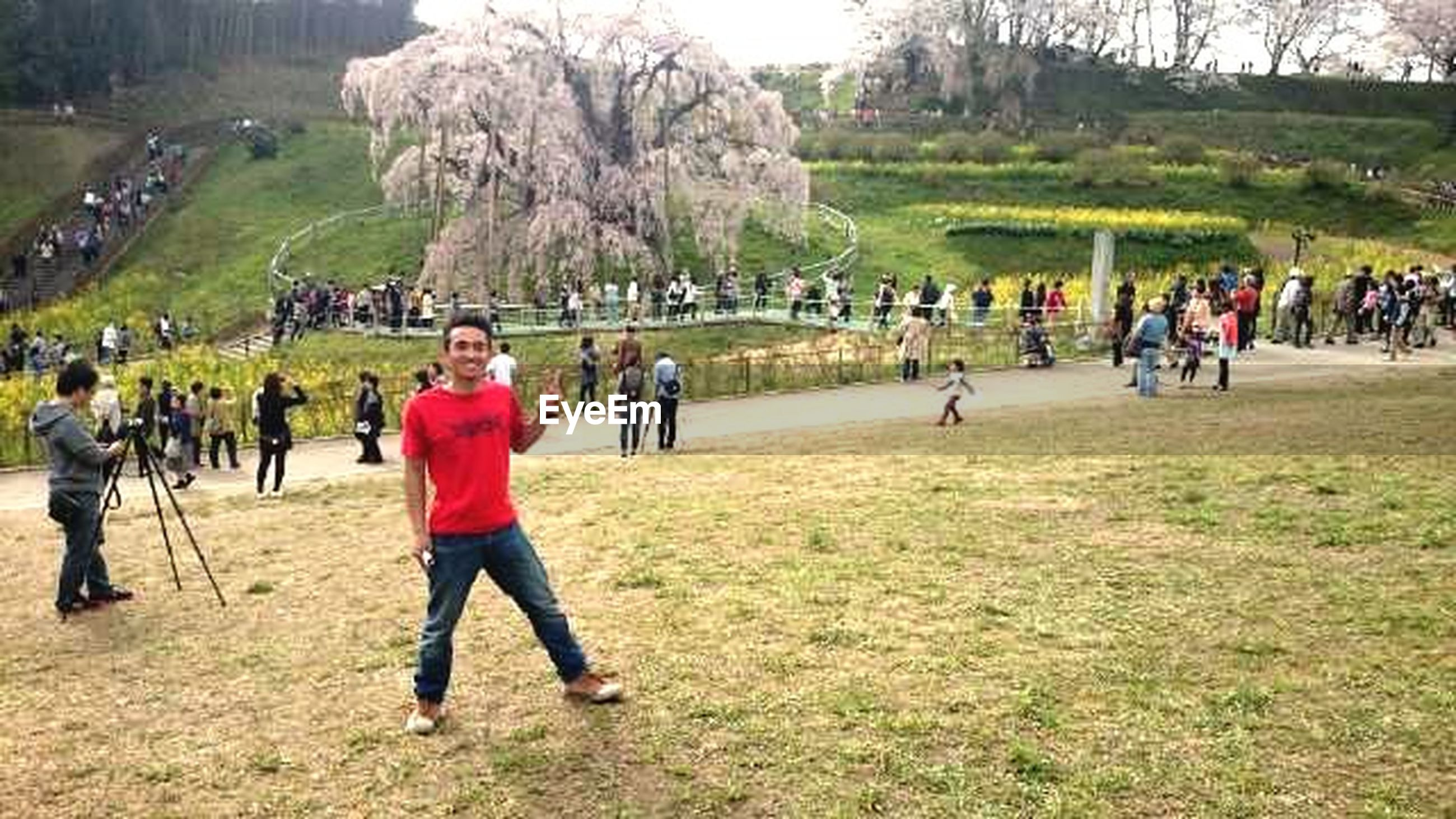 large group of people, grass, leisure activity, lifestyles, men, person, green color, field, tree, full length, sport, mixed age range, park - man made space, grassy, tourist, enjoyment, playing, walking, day