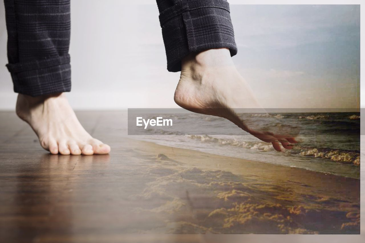 low section, human leg, human body part, real people, two people, standing, men, barefoot, human hand, indoors, women, lifestyles, day, close-up, adult, people
