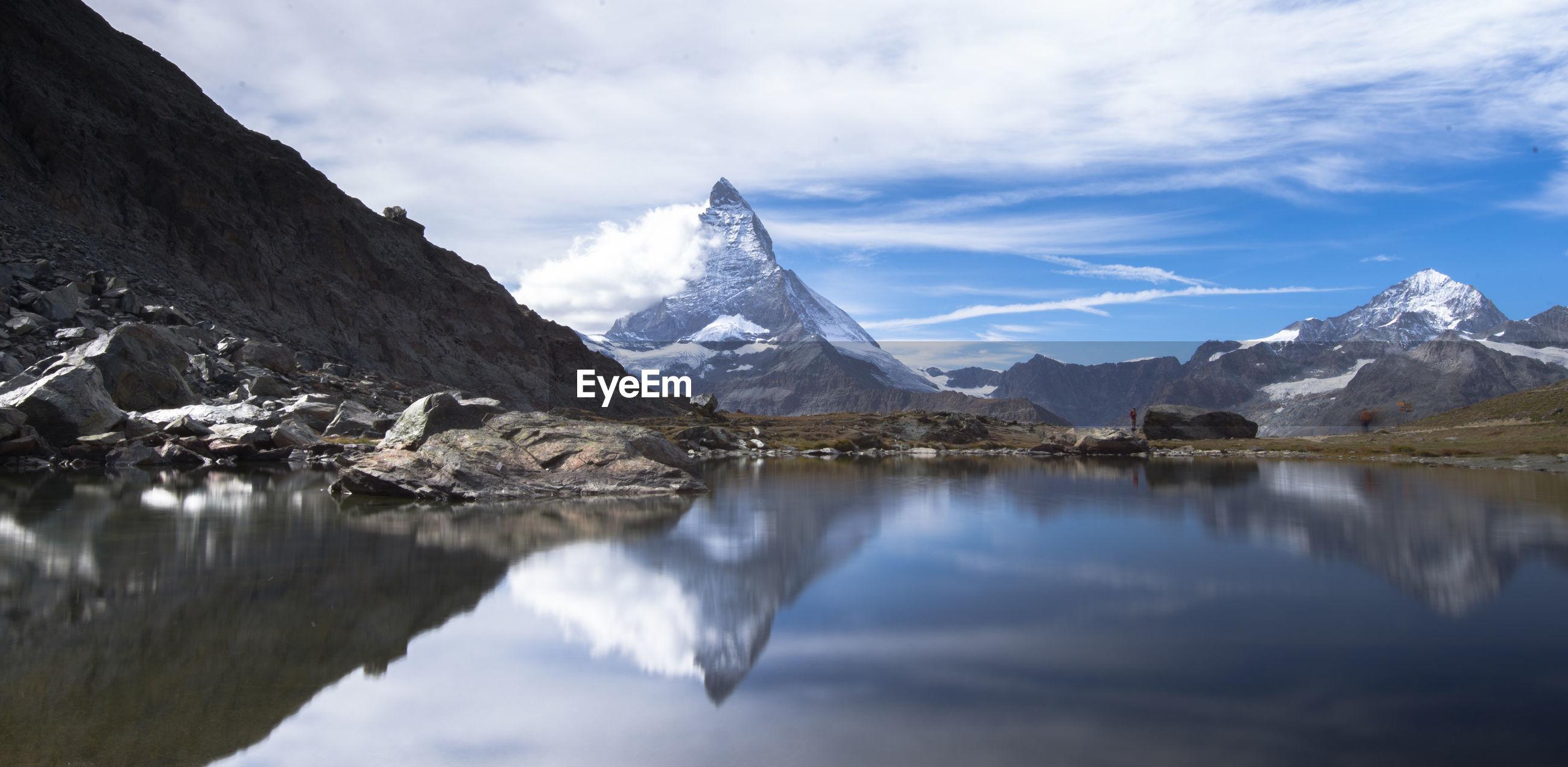 Matterhorn is a large, near-symmetric pyramidal peak in alps