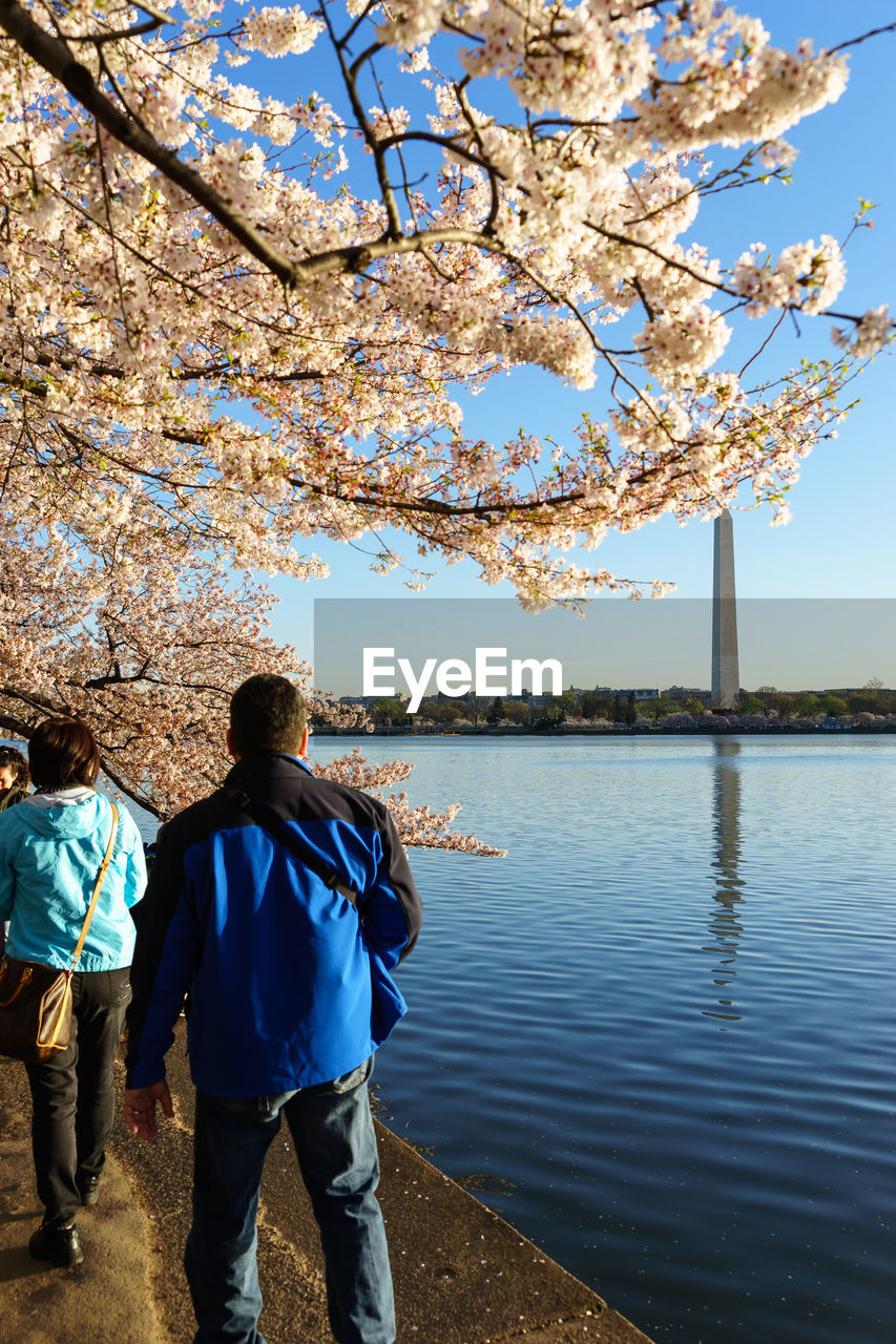 People Walking By Lake Against Washington Monument During Springtime