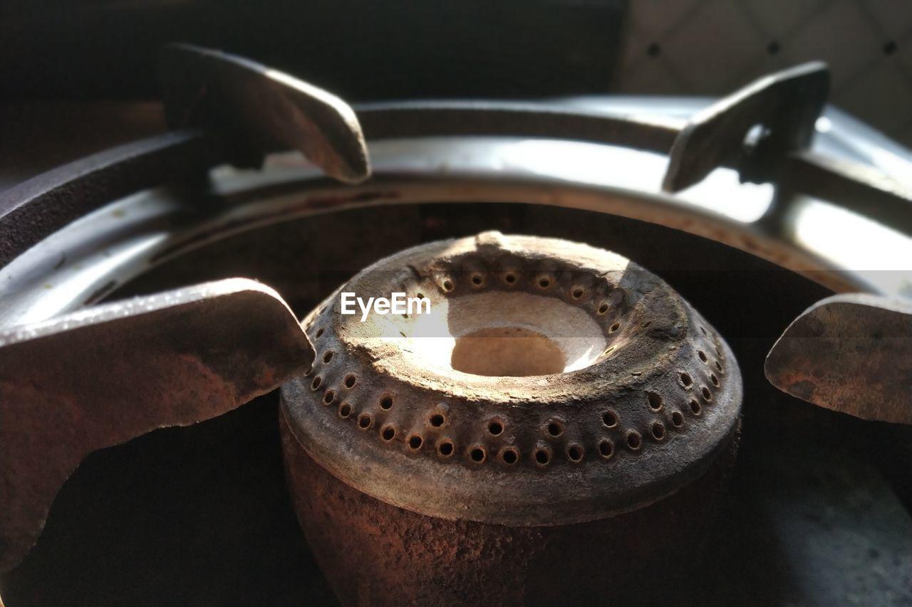 Close-up of stove burner