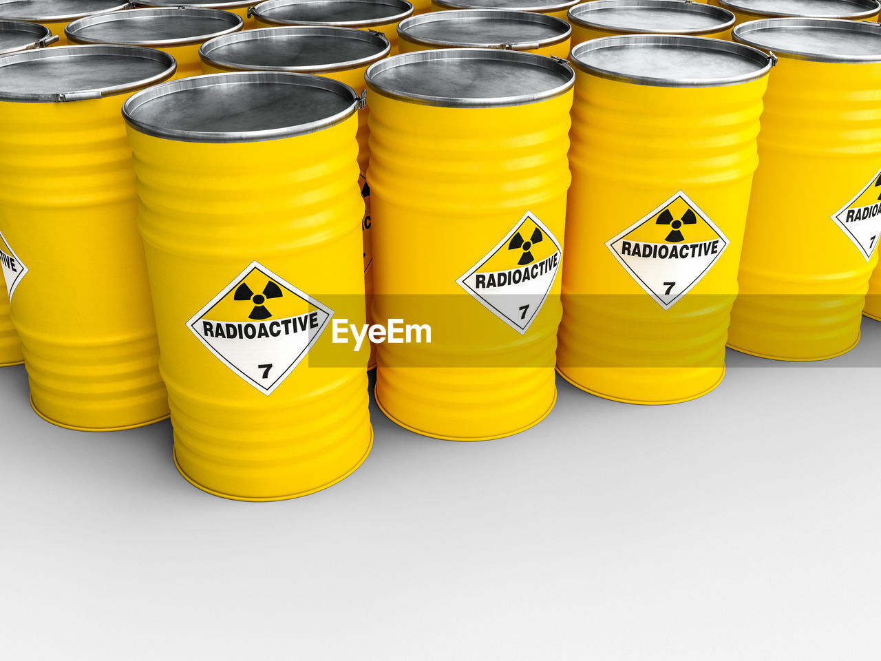 Yellow radioactive containers over white background