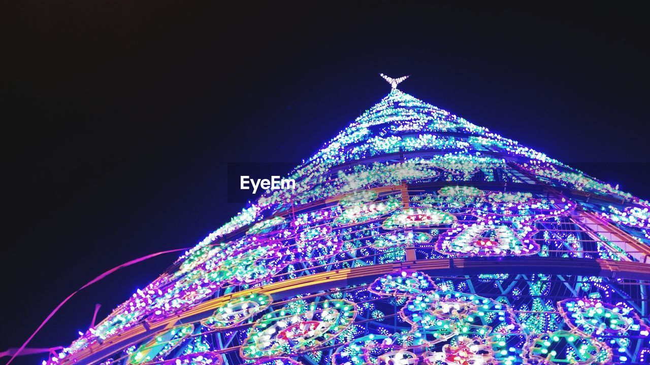 night, christmas, low angle view, illuminated, celebration, christmas decoration, clear sky, christmas tree, no people, christmas lights, tree topper, tradition, outdoors, building exterior, dome, sky, architecture