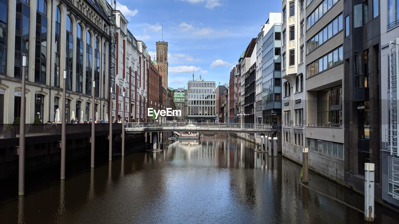 architecture, built structure, building exterior, water, building, canal, waterfront, city, sky, reflection, nature, no people, cloud - sky, day, outdoors, diminishing perspective, residential district, connection, bridge