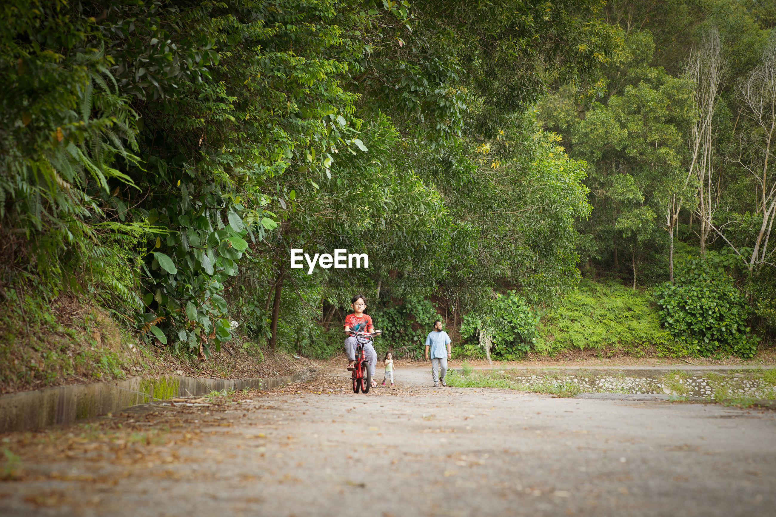 REAR VIEW OF TWO PEOPLE ON ROAD AGAINST TREES