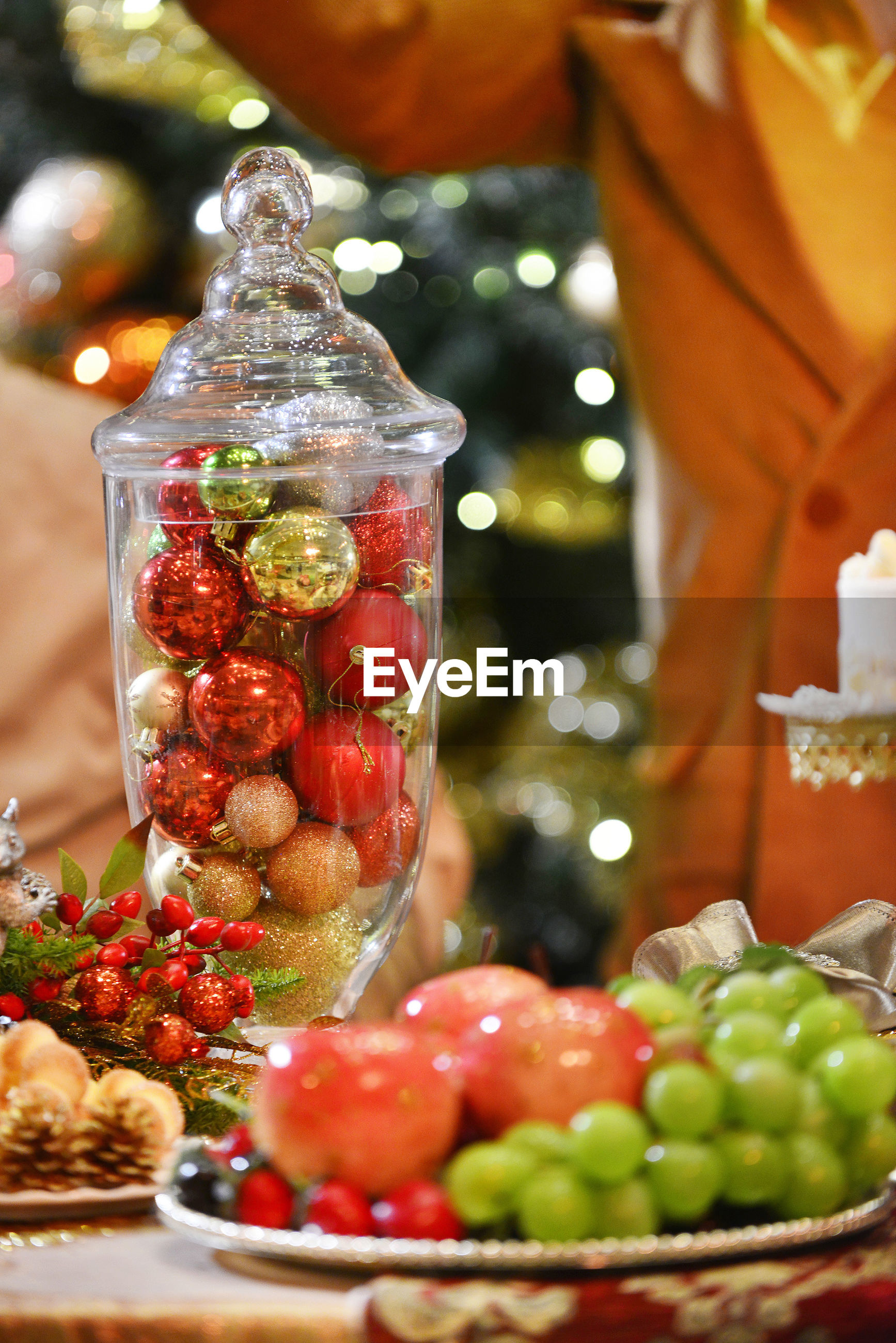 Close-up of fruits on table at christmas party