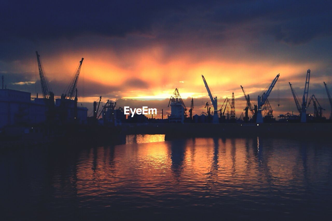 Commercial Dock At Sunset