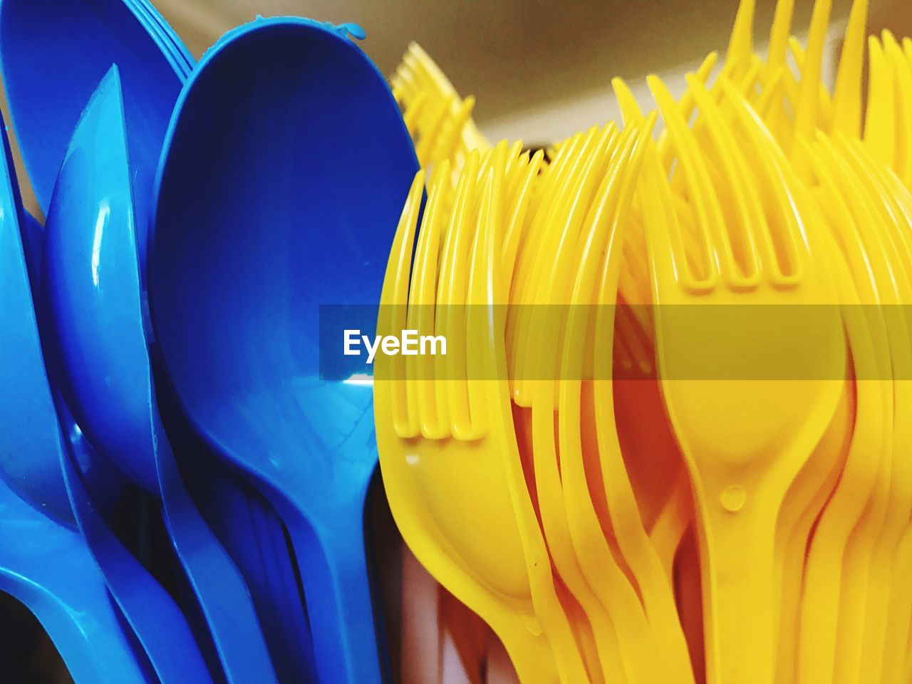 yellow, no people, close-up, plastic, blue, multi colored, day, indoors, freshness