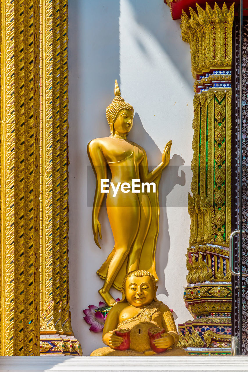 statue, sculpture, religion, male likeness, spirituality, gold colored, human representation, golden color, art and craft, idol, place of worship, golden, gold, indoors, no people, day