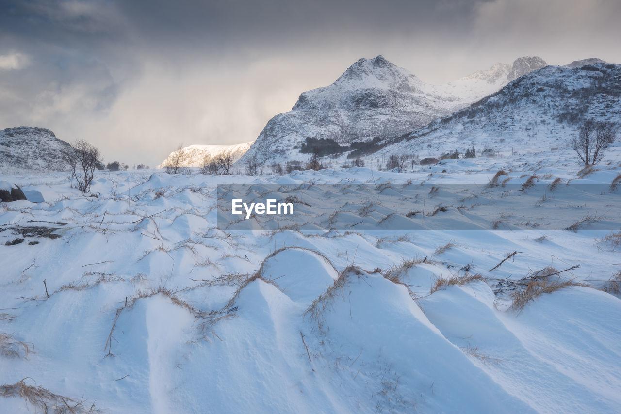 Scenic View Of Frozen Landscape Against Sky